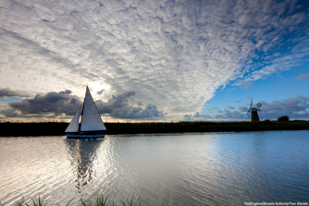 Sailing on The Broads, Norfolk, credit visitnorfolk.co.uk