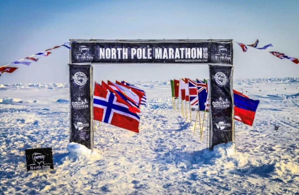 north pole marathon - running on water