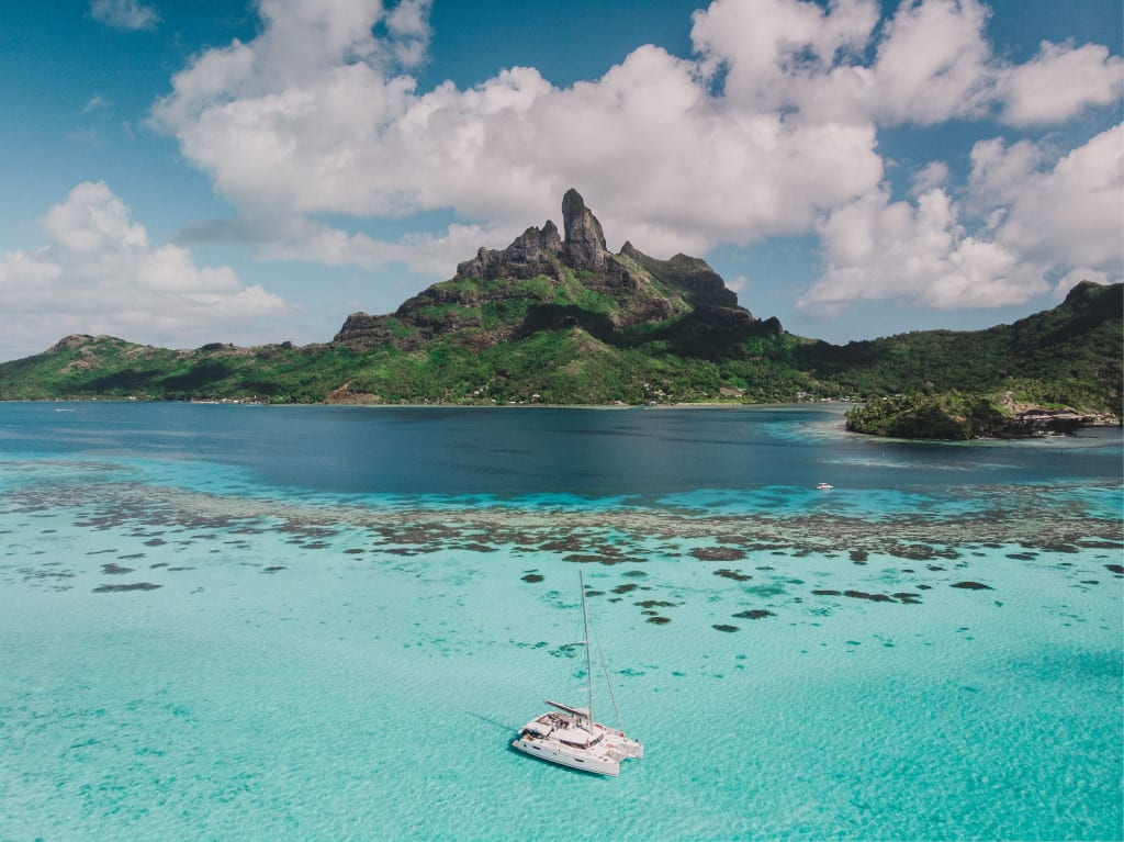 Wake up to beautiful blue waters in Tahiti
