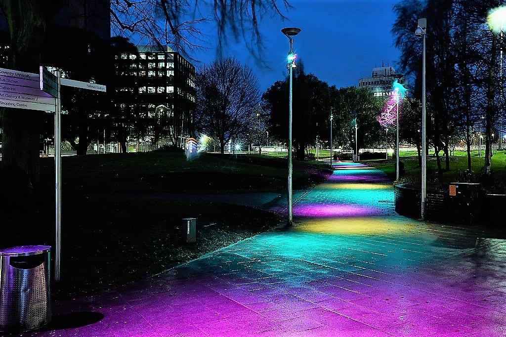 New lighting in Greyfriars Greem, Coventry