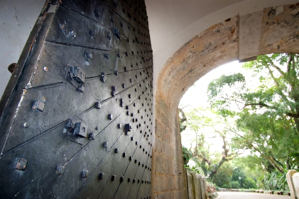 View of the metal gate and the arch of the Gate Fort Canning