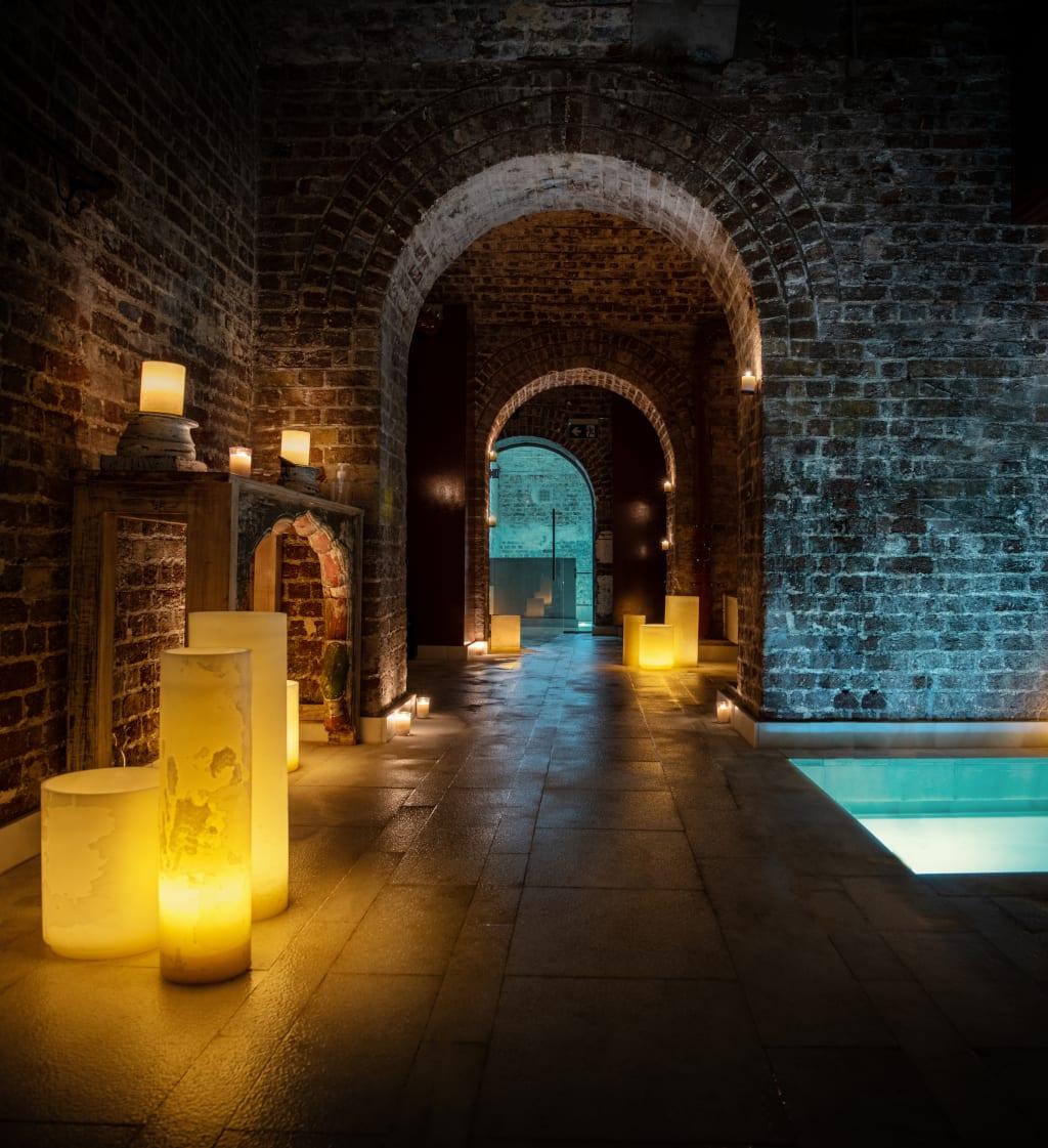 The wonderful cavernous brickwork at AIRE Ancient Baths London