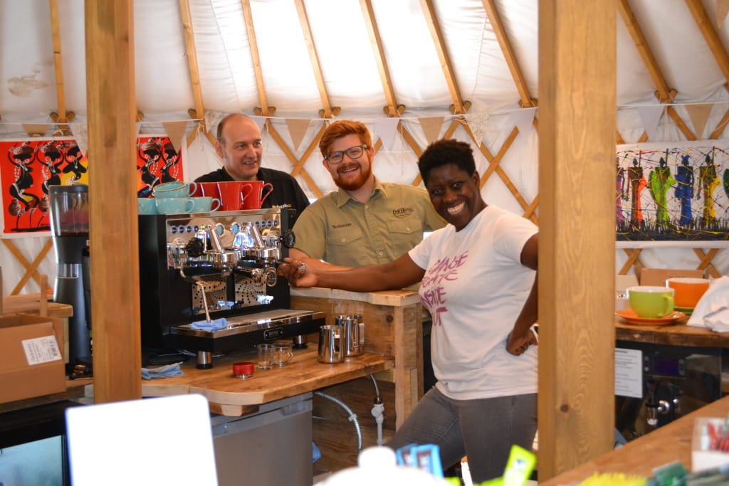 Friendly staff at the Yurt Cafe Potton Hall