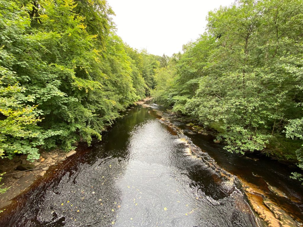 The River Irthing with its therapeutic sulphrous waters Gilsland Hall
